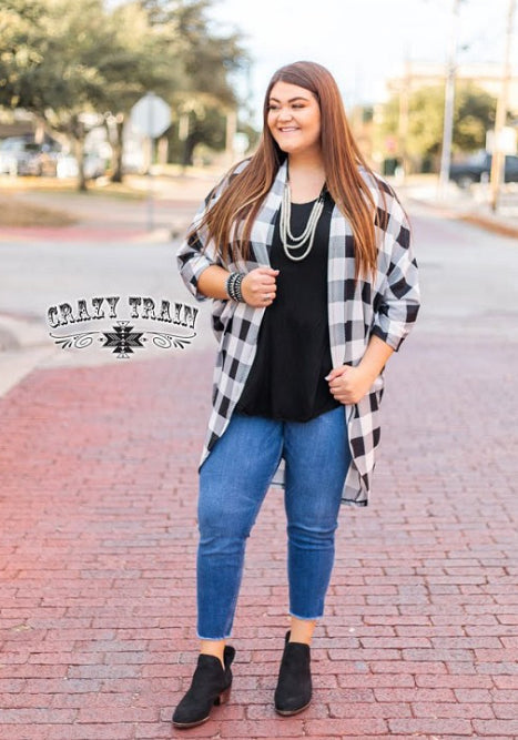 Buffalo Plaid Picnic Cardigan, Blk/Wht
