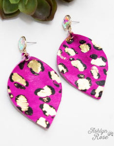 Leopard Leaf Earrings, Pink