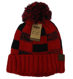 CC Pom Plaid Beanie, Red/Black