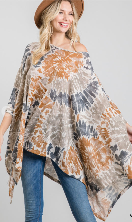 Navy and Rust Poncho Top