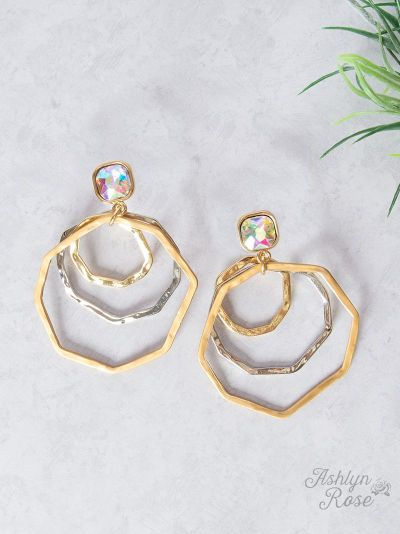 Three Circle Earrings, Silver/Gold