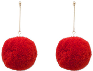 Puff Earrings, Red