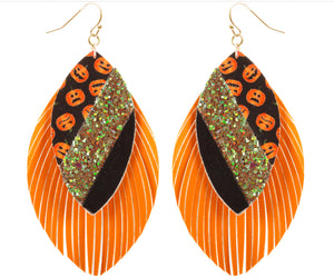Double Layer Glitter Pumpkin Earrings