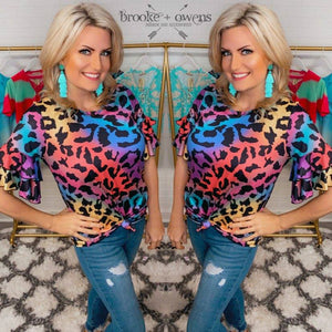 Multi Color Leopard Ruffle Sleeve Top