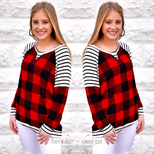 Plaid Contrast Top, Red and Black