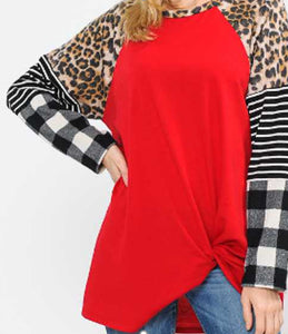 Multi Print Sleeve Contrast Top