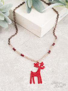Reindeer Copper Necklace with Dark Red and Crystal Beads