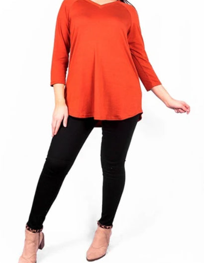 Solid Rust V-Neck Top