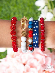 Red White and Blue Star Bracelet Set