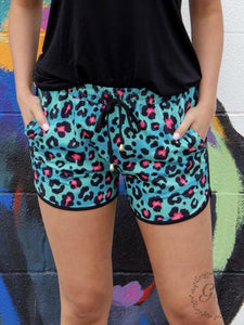 Leopard Shorts, Turquoise