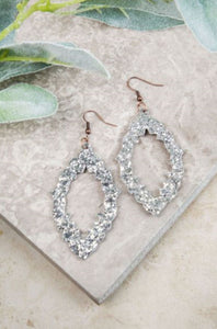 Baroque and Roll Glitter Earrings, Silver