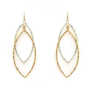 Silver and Gold Leaf Shape Earrings