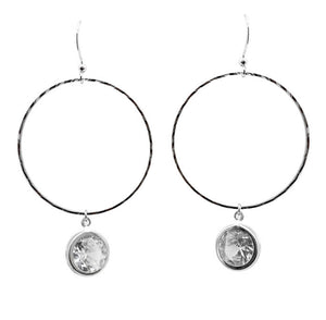Silver Hoop Earrings with Pendant