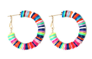 Small Colorful Disc Hoop Earrings