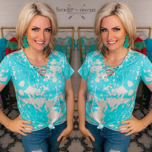 Bleached Top with Criss Cross Neckline, Blue/Cream