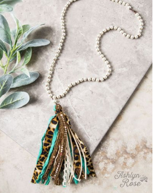 Turquoise Leopard Tassel Necklace