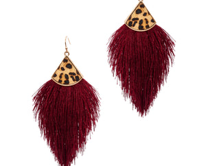Tassel Earrings with Leopard, Burgundy