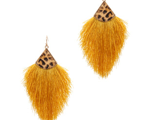 Tassel Earrings with Leopard, Mustard