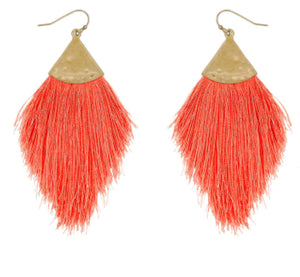 Thread Tassel Hammered Earrings, Coral