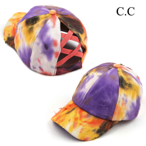 Tie Dye Baseball Cap, Coral/Yellow/Purple