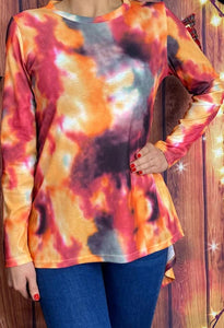 Long Sleeve Ribbed Tie Dye Top