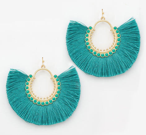Fan Fringe Earrings, Turquoise