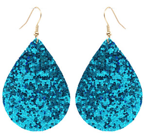 Glitter Teardrop Earrings, Turquoise