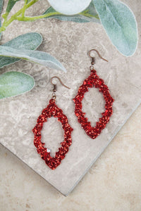 Baroque and Roll Glitter Earrings, Red