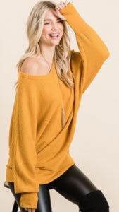 Waffle Knit Off the Shoulder Mustard Top