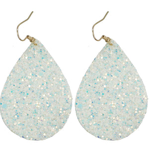 Glitter Teardrop Earrings, White