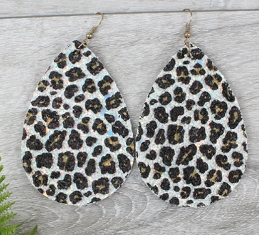 White Glitter Leopard Print Earrings
