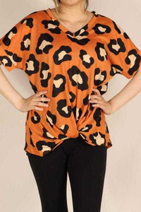Twisted Hem Tunic Top, Orange
