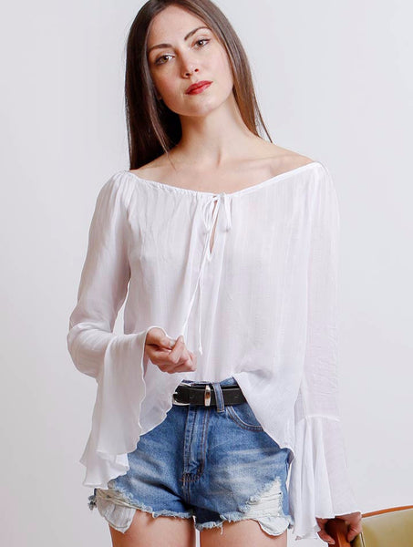 Flowy Bell Sleeve Top - NUDIST - 1