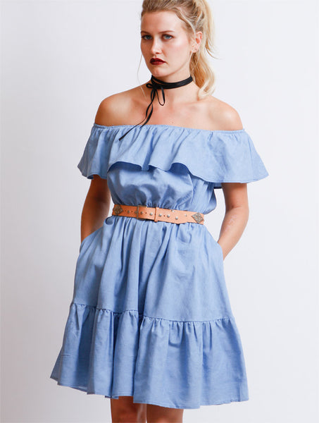 Chambray Off Shoulder Dress - NUDIST - 1