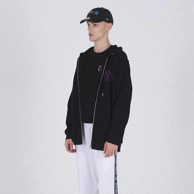 ABSTRACT MARK ZIP-UP JACKET - BLACK