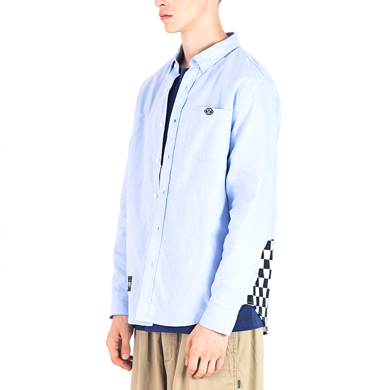 CHECKERED BLOCKED SHIRT - BLUE (1472295993415)