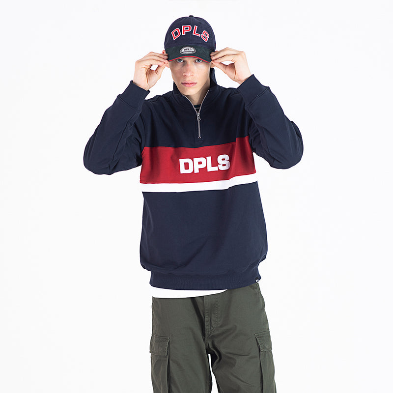 COLOR BLOCKED COLLARED SWEATSHIRT - NAVY (1483285528647)