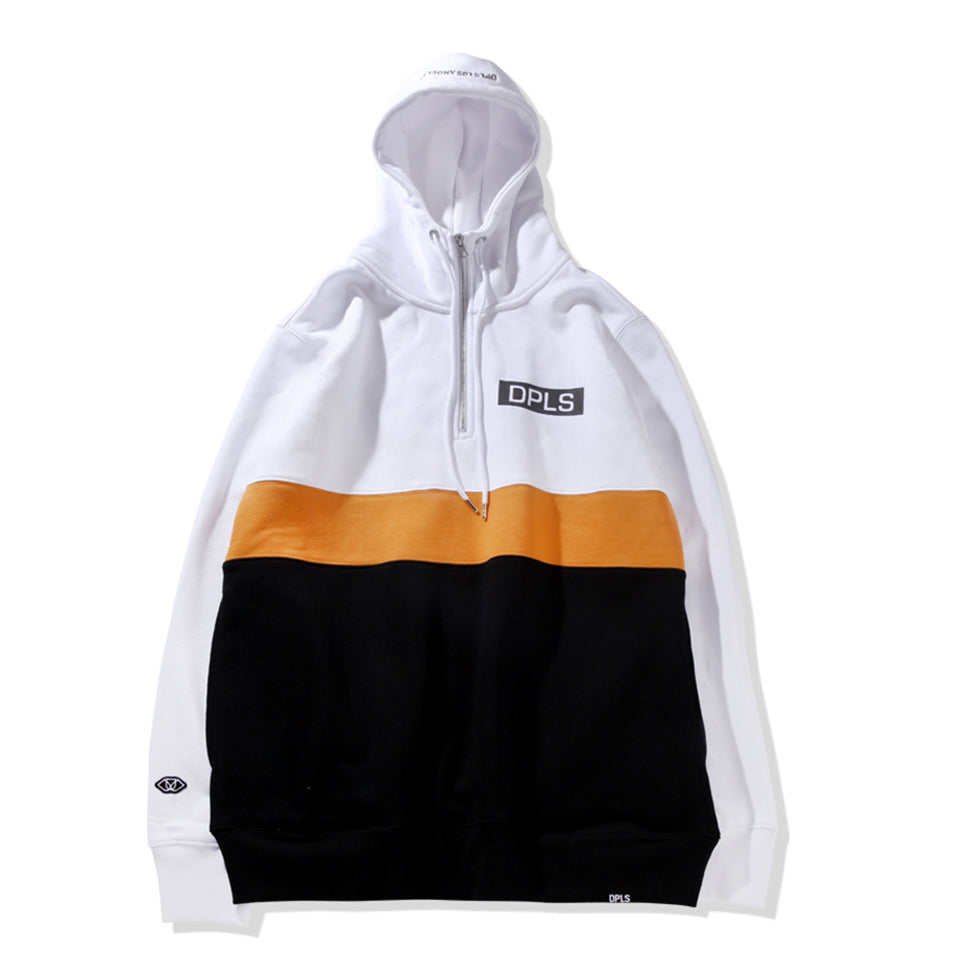 COLOR BLOCK ZIP-UP HOODIE - WHITE BLACK (1564395339847)