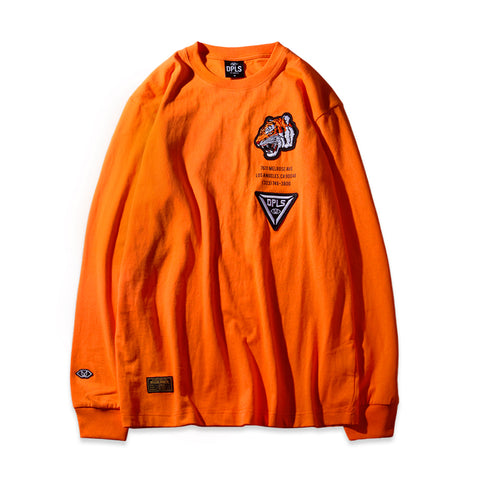 STARBURST LONG SLEEVE TEE - ORANGE