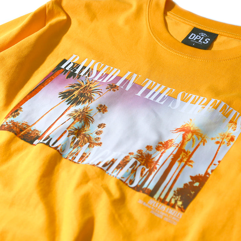 PALM TREE PHOTO TEE - YELLOW
