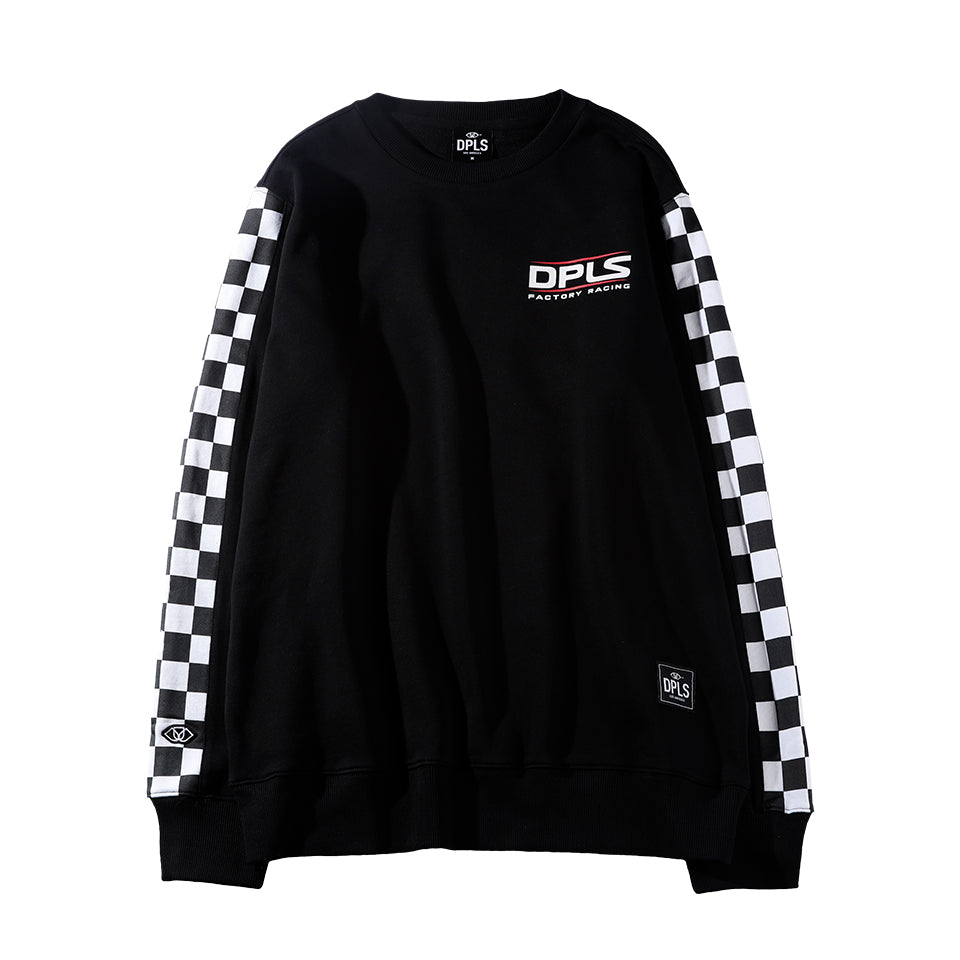 CHECKERED SLEEVE SWEATSHIRT - BLACK