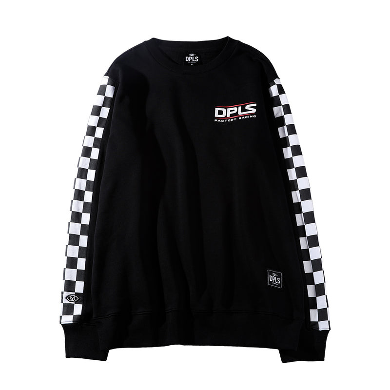 CHECKERED SLEEVE SWEATSHIRT - BLACK (1472284131399)