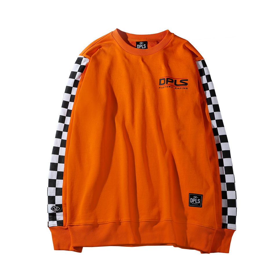 CHECKERED SLEEVE SWEATSHIRT - ORANGE