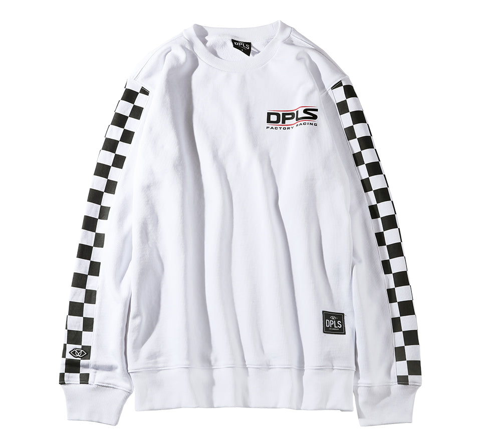 CHECKERED SLEEVE SWEATSHIRT - WHITE
