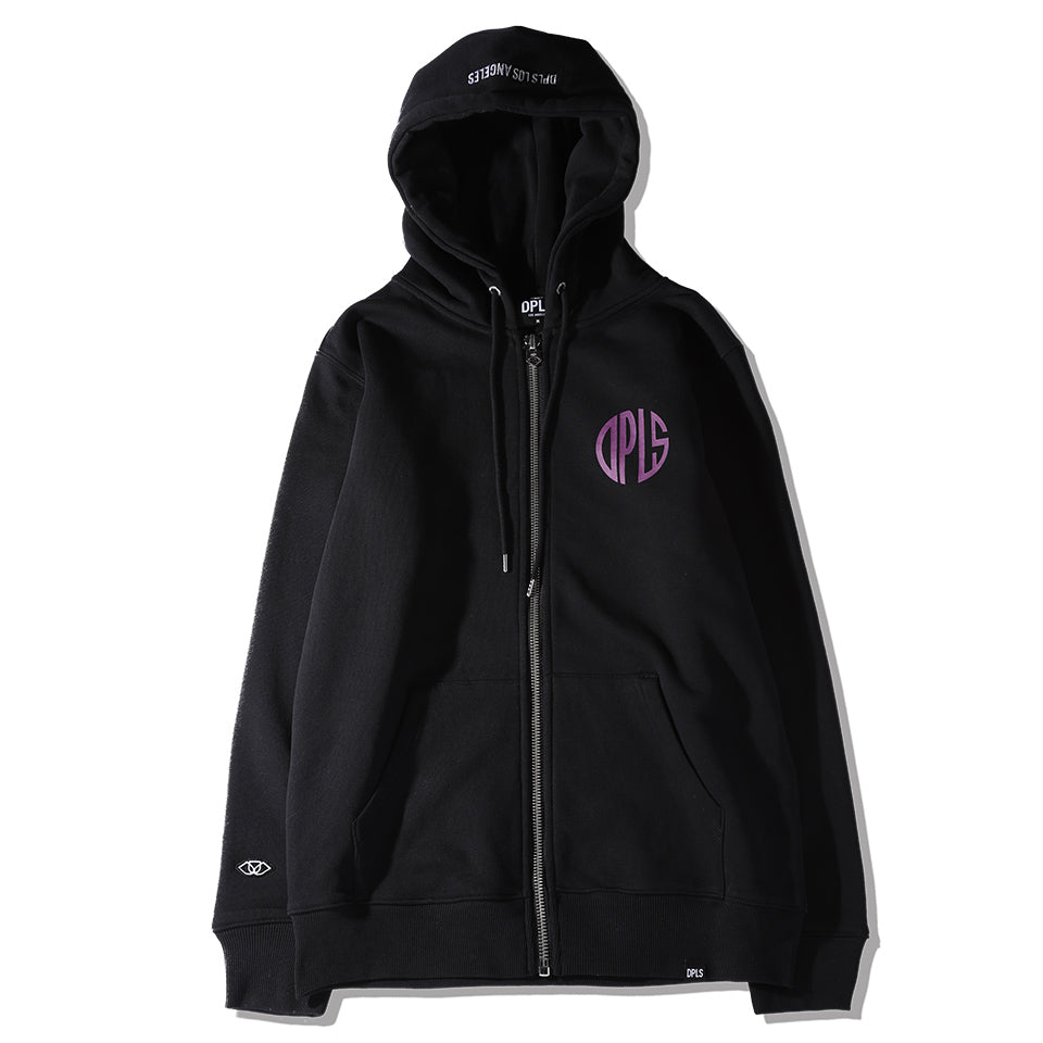 ABSTRACT MARK ZIP-UP JACKET - BLACK (1483691163719)