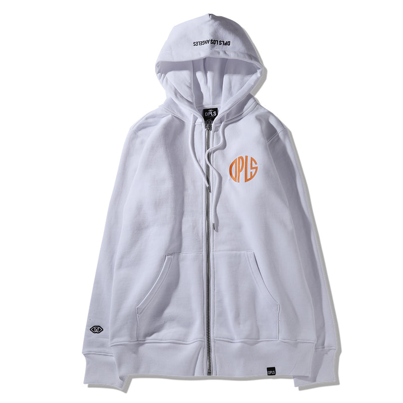 ABSTRACT MARK ZIP-UP JACKET - WHITE (1483690672199)