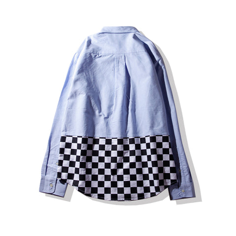 CHECKERED BLOCKED SHIRT - BLUE