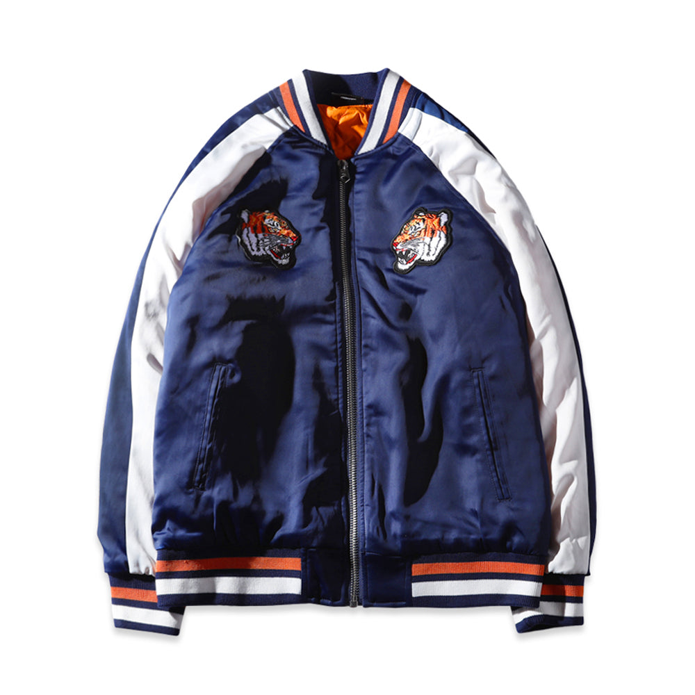 TIGER SOUVENIR BOMBER JACKET - NAVY