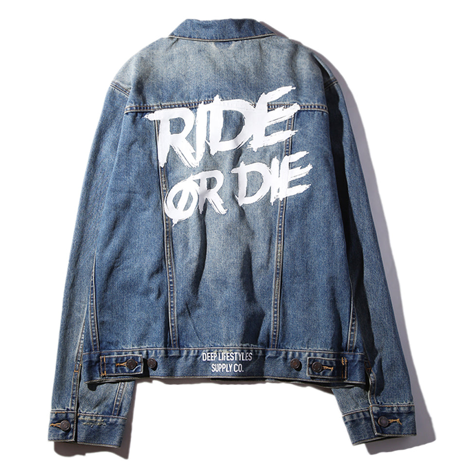 RIDE OR DIE DENIM JACKET - DENIM BLUE