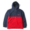 COLOR BLOCK ZIP-UP HOODIE - NAVY GREEN